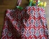 Fish block print tote bags