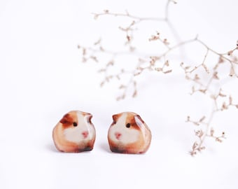 Guinea pig earrings , Guinea pig lover gift , Animal lover gift , Animal earrings  Animal jewelry  Guinea pig jewelry  Small animals studs