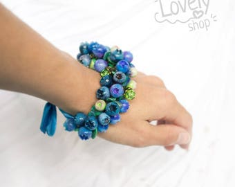 Blueberry polymer clay bracelet / floral / miniature berries polymer clay / blueberry charm bracelet / nature inspired braclet /blue jewelry