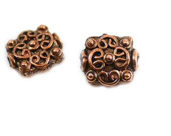 Bali Style Antiqued Copper Alloy Pewter Handmade Fancy Square Beads 10x11mm - Package of Two (2) Pieces