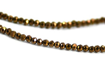 Chinese Crystal Tiny Rondelles Beads in Metallic Bronze Copper Brown 2x3mm