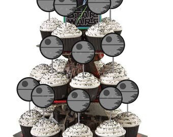 DIY PRINTABLE Death Star cupcake toppers | Star Wars birthday party or baby shower decor | Dead Star - Star Wars cupcake picks!