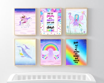 Childrens Bedroom Wall Art, Printable Kid Decor, Little Girl Wall Decor, Dance With Fairies Ride A Unicorn Swim With Mermaids Chase Rainbows