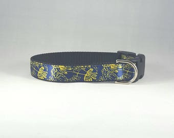 Dark shiny blue with yellow/gold flowers