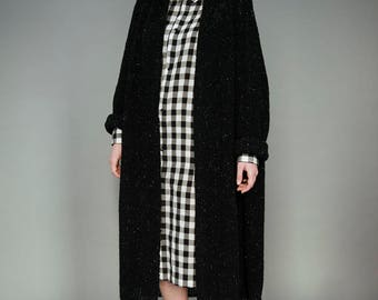 Black wool cardigan, Knit cardigan, Oversized long cardigan, Black tweed wool sweater, Black knitted cardigan, Loose black cardigan