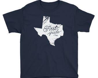 K-6 Texas Grade Level Y'all | Youth Back To School Tshirt | Kids School Shirt | PreK First Grade