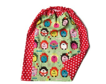table towel elasticated canteen, child, nursery, nursery, school, home, hedgehogs, dots, multicolor red green