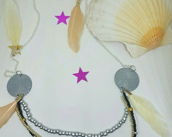 Necklace multi strand beads and feathers