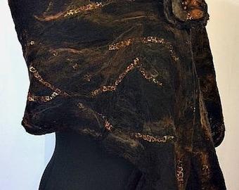 Leopard Print Felted Scarf, Black Animal Print Scarf, Black Cobweb Wrap, Women's Fashion Accessories, Felted Shawl, Graceful Ewe Fiber Arts