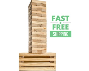 Giant Tumble Tower with Optional 2-in-1 Storage Crate / Game Table   Free Shipping   Wedding Guest Book Alternative