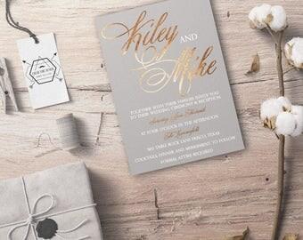 Real Foil Elegant Wedding Invitations