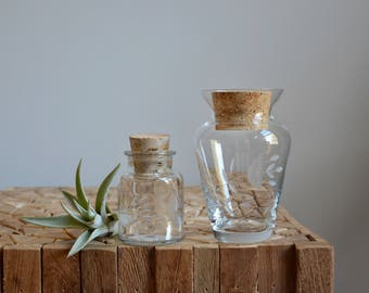 Vintage Glass Apothecary Glass Jars with Cork Lids Set of TWO | Etched Glass Apothecary Jar Set | Storage Terrarium