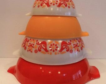 Friendship Birds Pyrex - Cinderella Nesting Bowl Set - Set of 4 Pyrex Bowls - Cinderella Nesting Bowls