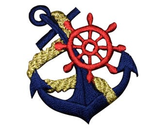 Anchor, Ship's Wheel, and Rope Applique Patch (Iron on)