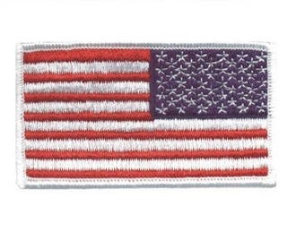 Reverse American Flag Patch for Right Shoulder - United States USA (Iron on)