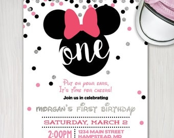 minnie mouse first birthday invite, girl 1st birthday silver glitter confetti printable invitation, put on your ears customize personalize