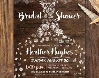 rustic beach bridal shower invite, printable invitation, seashell dress chic invitation boardwalk vintage beach theme personalize