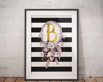 Dreamcatcher Letter B  | Boho Initial, Dreamcatcher Name, Floral Letter, Personal Nursery Art, Capital Letter, Floral Letter, Floral Name