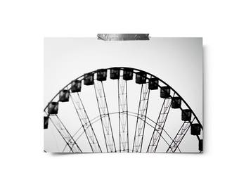 Ferris Wheel Print, Paris Photography, Paris Ferris Wheel Print, Travel Photography, Travel Print, paris decor, Black and white photography