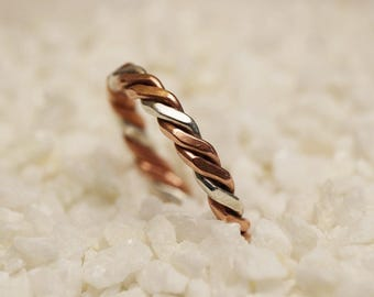 Celtic/ Viking ring of copper and silver - US size