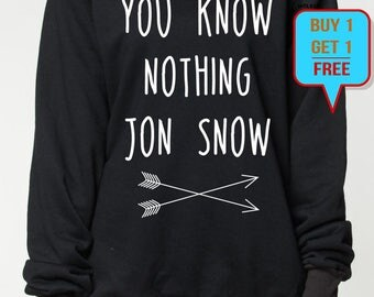 You know nothing jon snow sweatshirt game of thrones sweater shirt tshirt women men jumper tee long sleeve tshirt