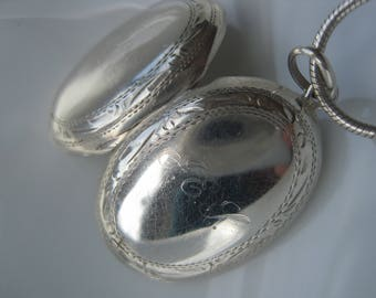 "Solid Silver Victorian Locket, ""Friends Forever"",  Monogram, Necklace, Gift, Friends, Lover,"