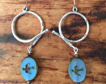 Blue Swallow Earrings