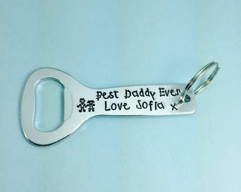 "Personalised ""Best Daddy"" Beer Bottle Opener Keyring 