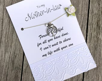 Mother in LAW wedding gift, Mother in law gift, Mother of the groom gift, Mom NECKLACE, Family tree necklace, Gift from bride to mom, B12b