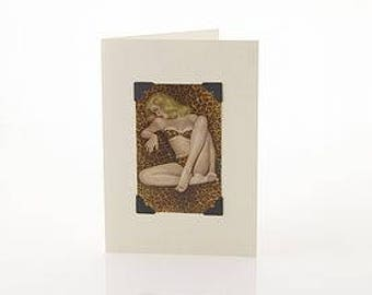 50s Pin Up Greetings Card by Vintage Playing Cards FREE UK SHIPPING!