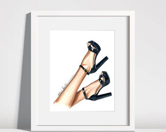 Black heels fashion illustration
