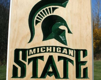 Carved Michigan State Spartans Wood Sign