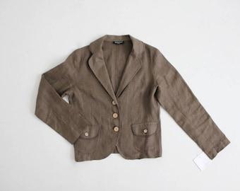 90s linen blazer | cropped jacket | army green blazer