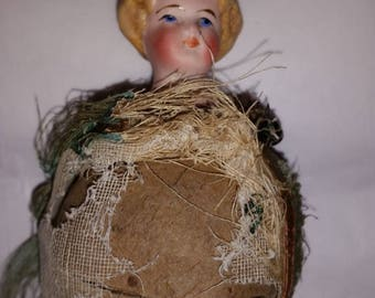 Petite Antique Musical Marotte Bisque Girl with Whistle Handle- Redressing Project