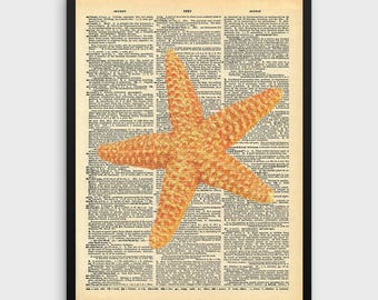 Starfish Dictionary Print | Ocean Art, Dictionary Art, Dictionary Wall Art, Dictionary Paper, Starfish Art,Marine Life, Sea Life, Ocean Life
