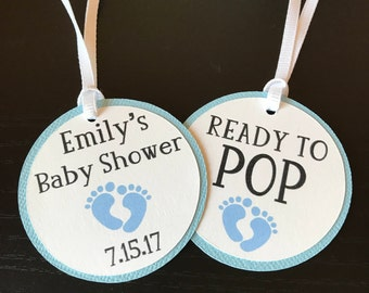 Baby Shower Tags // Thank You Tags // Ready to Pop Tags // Personalized Tags // Gender Reveal Tags // Favor Tags