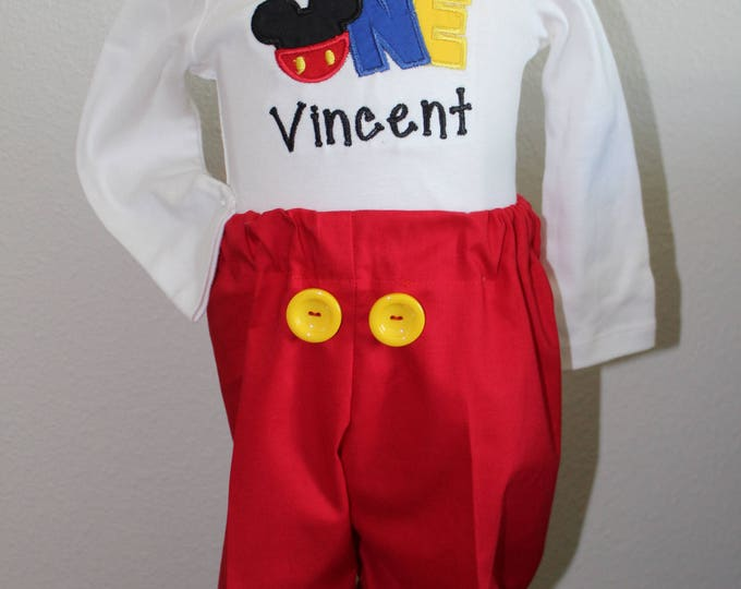 Mickey Mouse first birthday outfit,1st birthday shirt,Boy first birthday bodysuit,Mickey red pants,Boys first birthday,Disney boy birthda