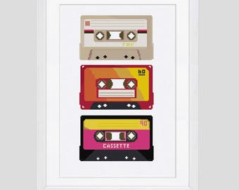 Cassette cross stitch pattern, 80's cross stitch pattern, retro cassette tape cross stitch download pattern