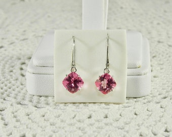 Pink Topaz 8 mm 5.46 TCW Square Cushion Concave Cut Sterling Silver Leverback Earrings