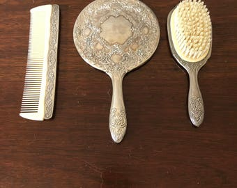 Silver Brush, Comb & Mirror Set