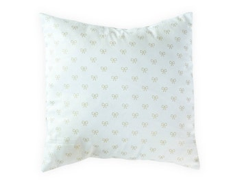 White Gold Pillow Cover - Shabby Chic Pillow Cover - Gold Ribbons Pillow Cover