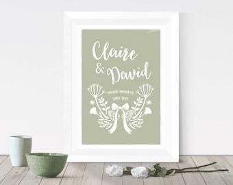 Custom couple gift, new home gift, personalised housewarming gift, Wildflower wreath, Cow parsley, custom wedding gift