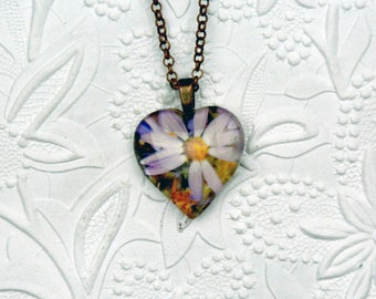 Large Heart-shaped Photo Necklace with Pink Daisy Image with Copper Findings