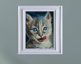 Pet painting gift for her Pet portrait painting blue painting Small Oil painting original Cat portrait painting cat lover gift birthday gift