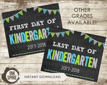 Printable First and Last Day of Kindergarten School Chalkboard Sign, Back to School Sign, School Chalkboard Poster, INSTANT DOWNLOAD