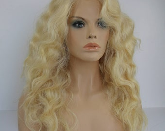 Light Bleached Blonde  Long Wavy  Layered Full Volume Multi Part   Wig -TIFFANY