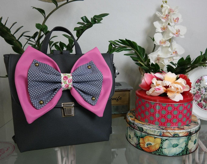 Captain Charcoal Backpack with Pink & Grey Polka Dot Bow