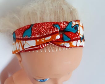 Turban for baby in orange/red wax