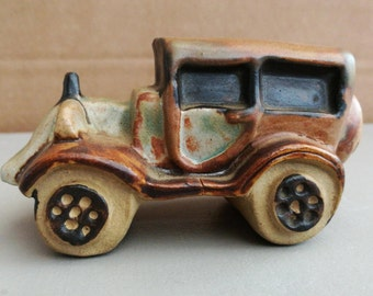 Vintage Tremar Pottery Figure. Vintage Tremar Pottery Motor Car. Tremar Car.