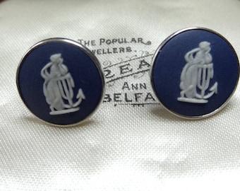 Wedgwood Earrings Portland Blue Jasper Cameo and Sterling Silver Pierced Ears Dark Blue. Laetitia, Roman Goddess of Joy Gaiety & Celebration